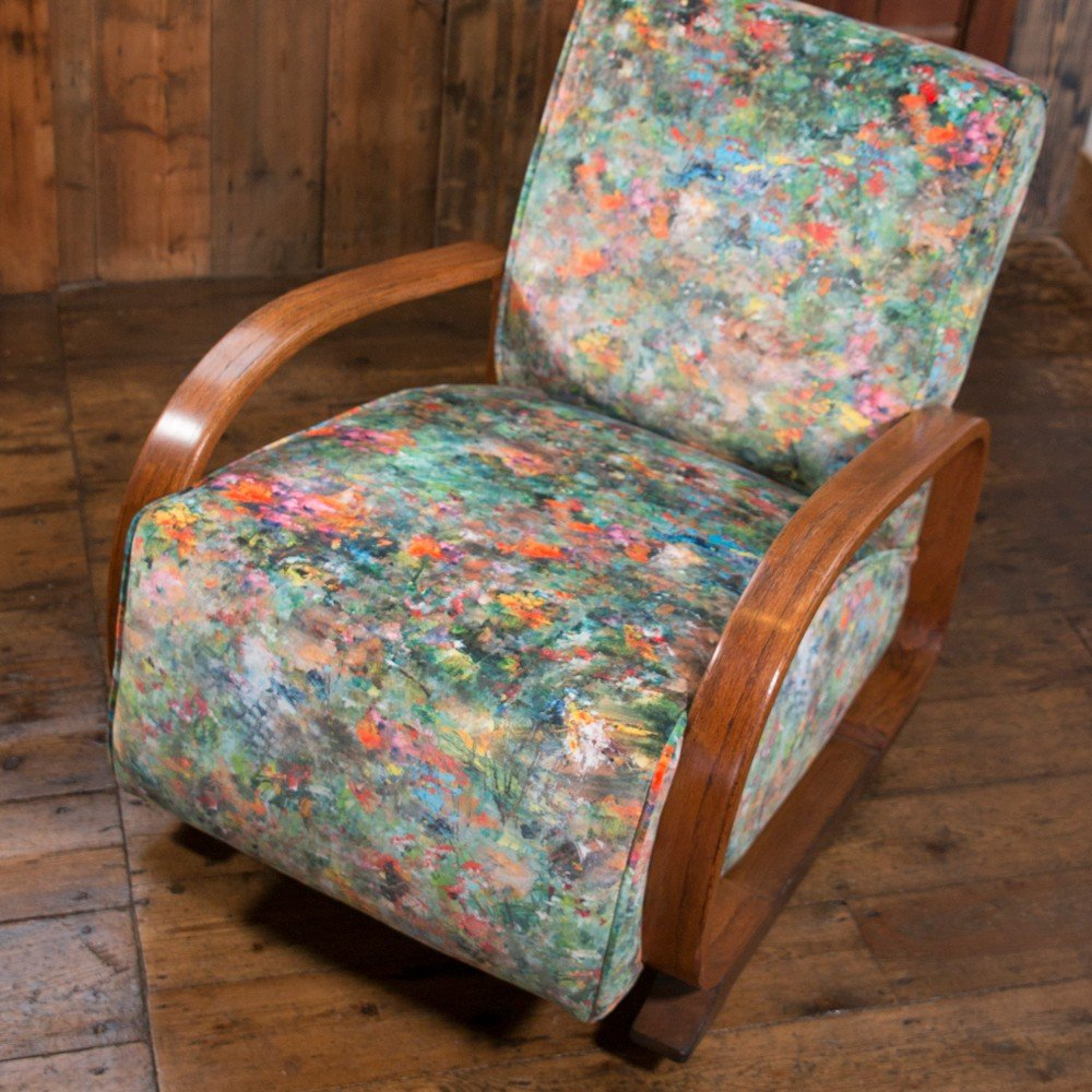Art Deco Bentwood Arm Chair Newly Upholstered in Fibre ...