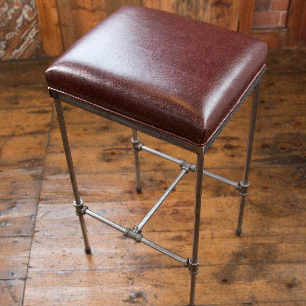 Phenomenal Handmade Industrial Design Steel Pipework Bar Stool Ox Blood Leather Gamerscity Chair Design For Home Gamerscityorg