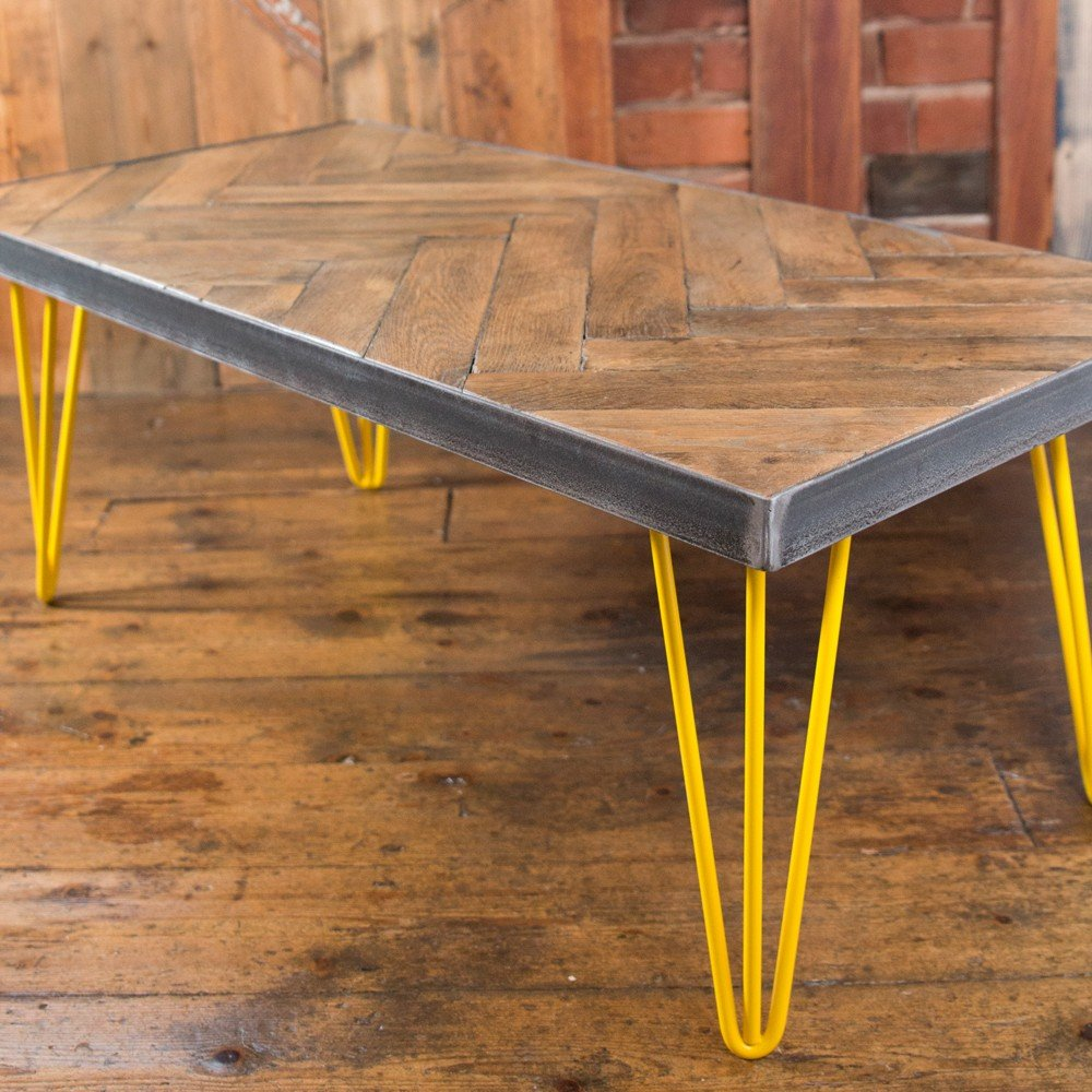 Industrial Design Parquet Flooring Coffee Table With Hairpin Legs