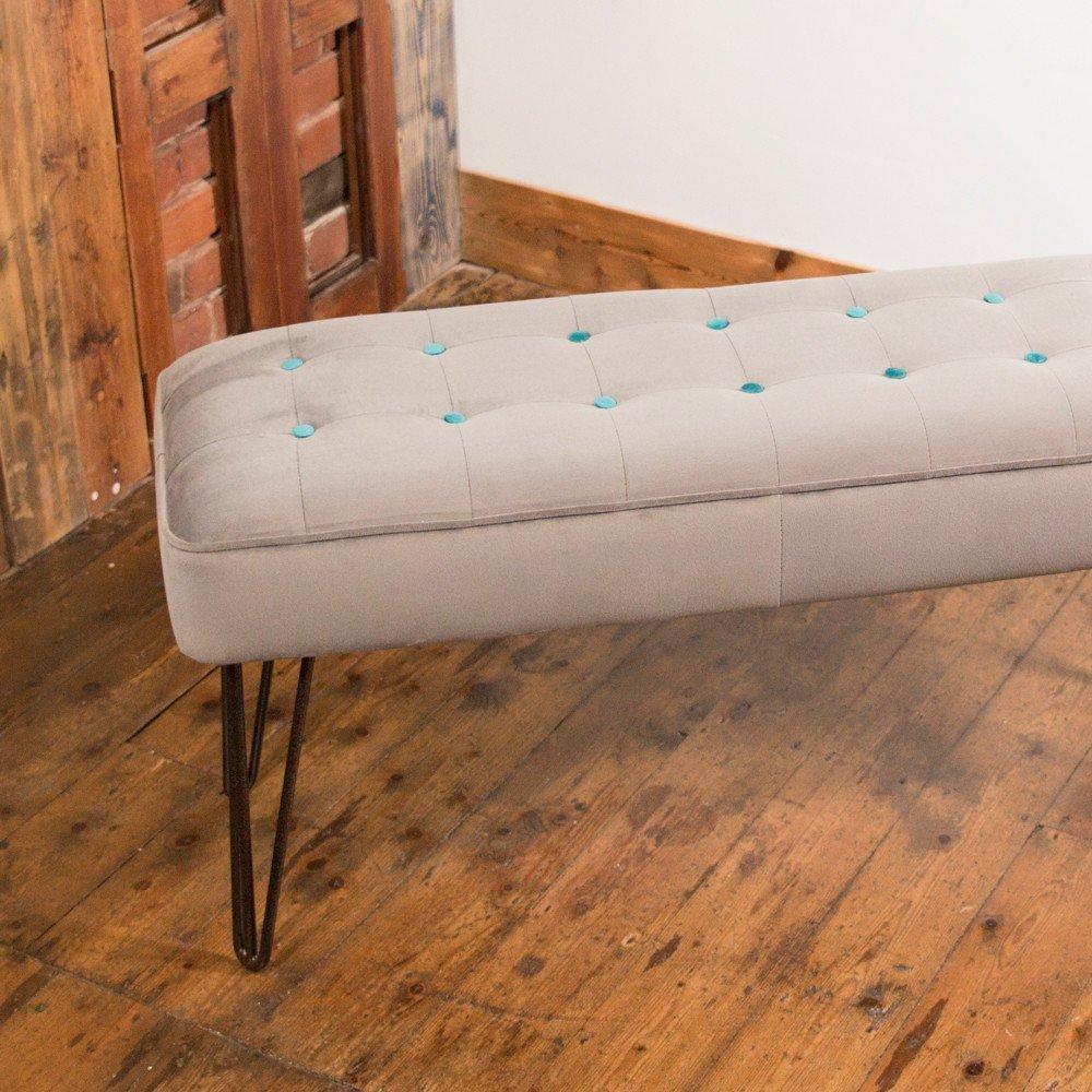 Mid Century Design Hairpin Leg Bench In Grey Velvet And
