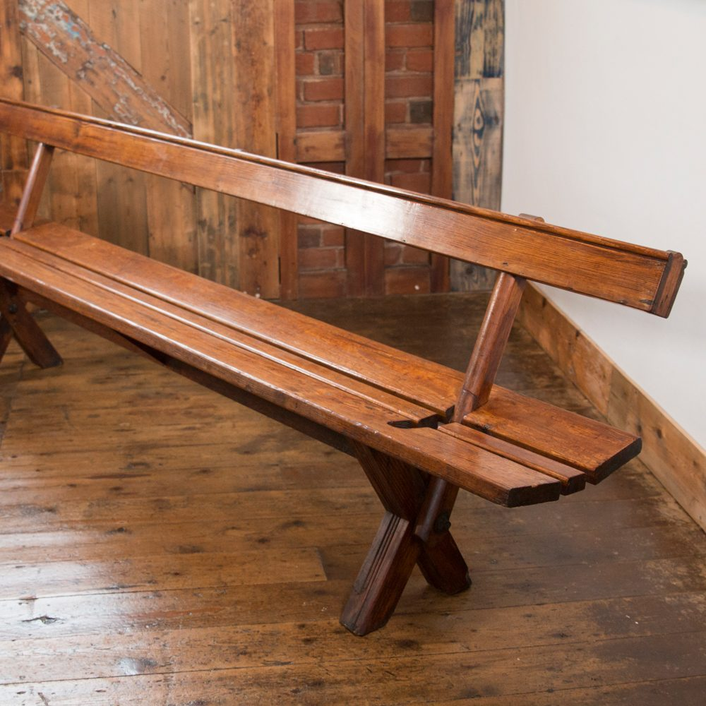 Original Victorian Low Church \'Tram Bench\' or Swivel Bench/Pew - 8ft ...
