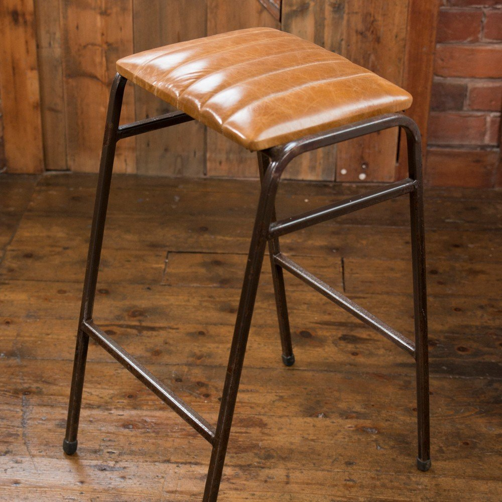 Vintage Retro Industrial Science Lab Bar Stool With Fluted