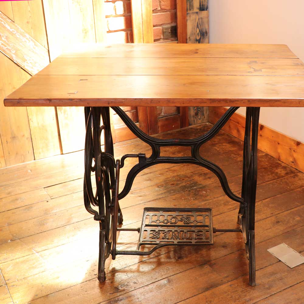 Dining Table Made With Reclaimed Wood And Singer Sewing