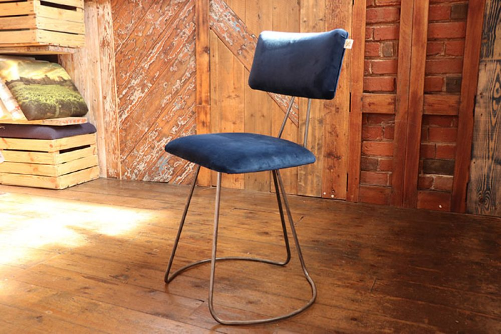 Handmade Industrial designed chair in Blue Velvet