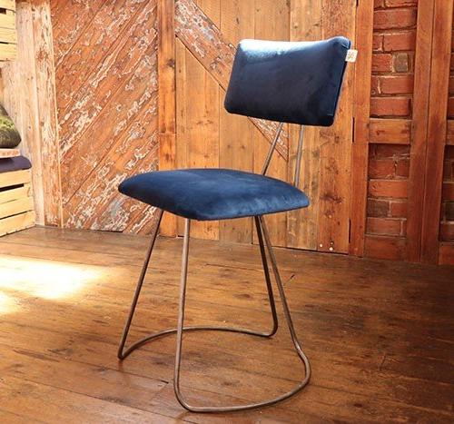 Handmade Industrial designed chair in Blue Velvet