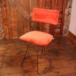 Handmade Industrial designed chair in Orange Velvet