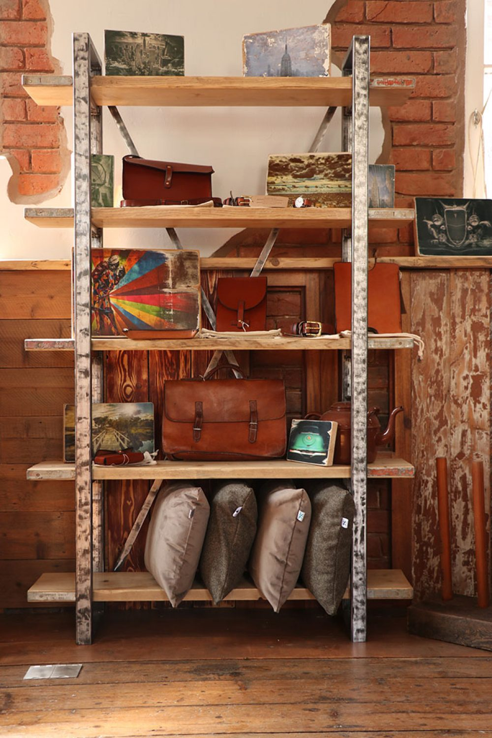 Industrial design scaffold plank shelving unit with custom made steel box frame