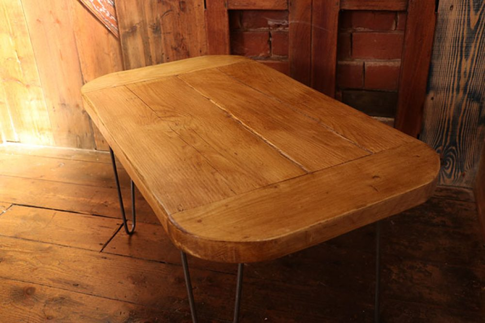 Industrial design scaffold plank coffee table with hairpin legs