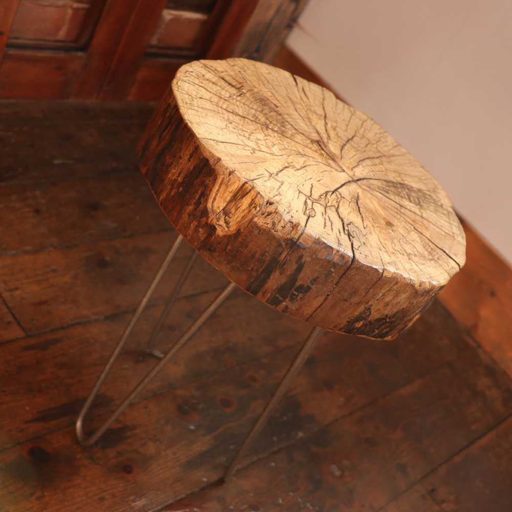 Rustic Natural Tree Trunk Table With Hairpin Legs Sh