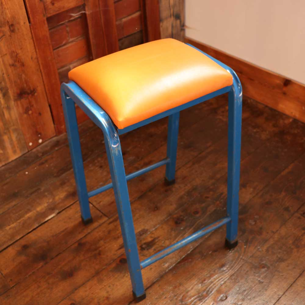 Peachy Four Vintage Retro Industrial Science Lab Stool With Orange Italian Leather Seat Beatyapartments Chair Design Images Beatyapartmentscom