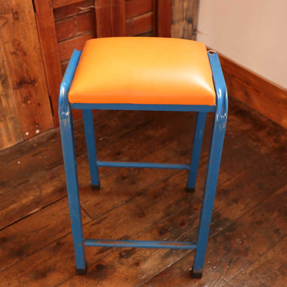 Four Vintage Retro Industrial Science Lab Stool With