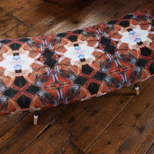 Stofa bench upholstered in velvet fabric designed by Emma of Semper Hopkins Upholstery and Interiors
