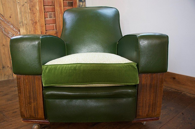 Original Art Deco Club Armchair in Green Leather, with new upholstered seat cushion
