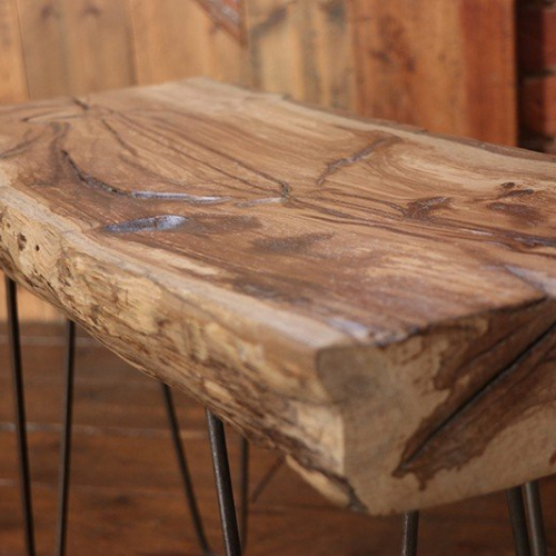 Rustic Natural Tree Trunk Coffee Table With Hairpin Legs