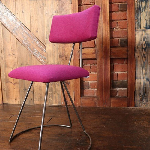 Handmade Industrial designed chair in Linwood Italian wool Pink