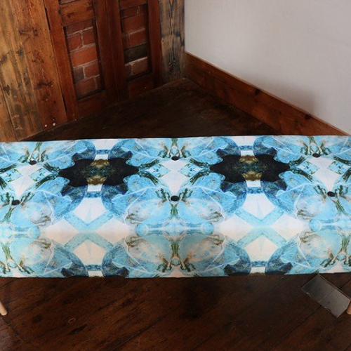 Bench upholstered in velvet fabric designed by Semper Hopkins Upholstery and Interiors
