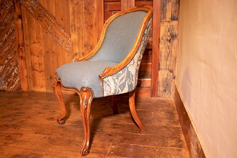 French style chair in Linwood Teal Wool and Fable fabric