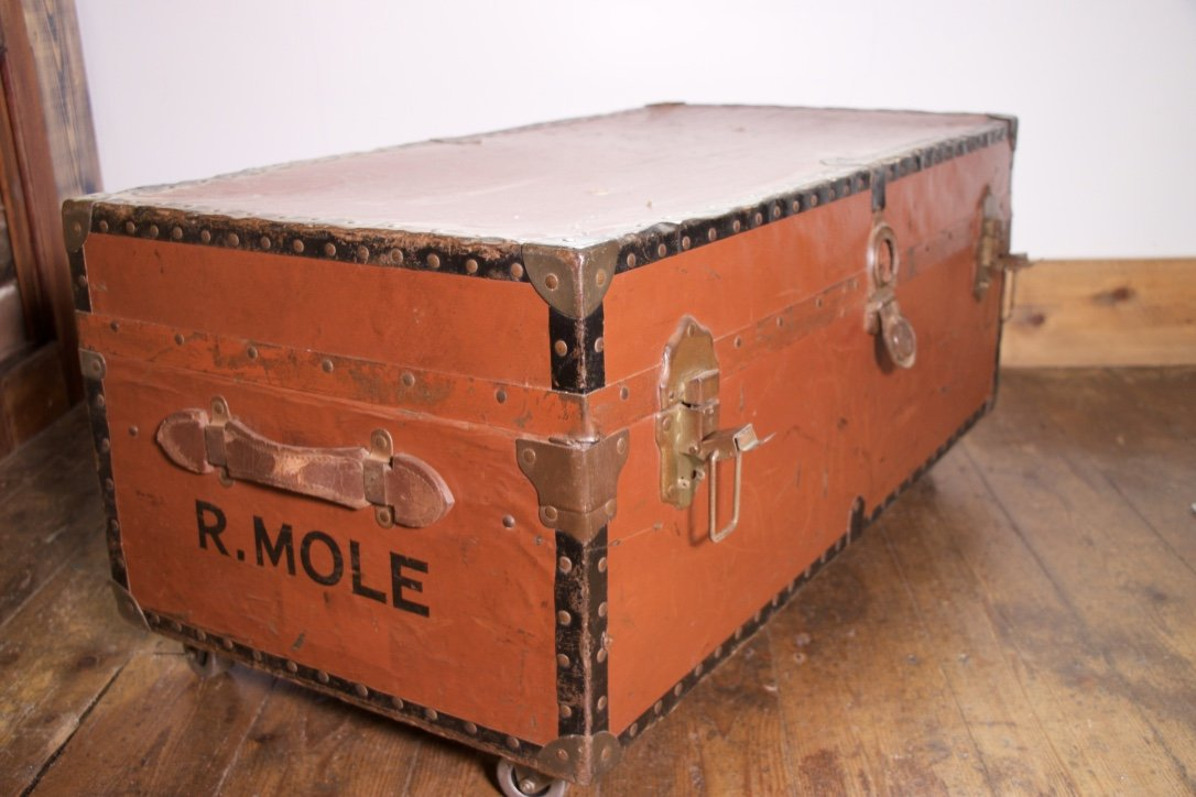 Vintage Steamer Trunk Coffee Table On Industrial Castor Wheels