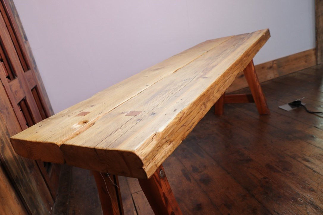 Pleasant Wooden Bench Made From Reclaimed Scaffolding Boards With Splayed Legs Creativecarmelina Interior Chair Design Creativecarmelinacom