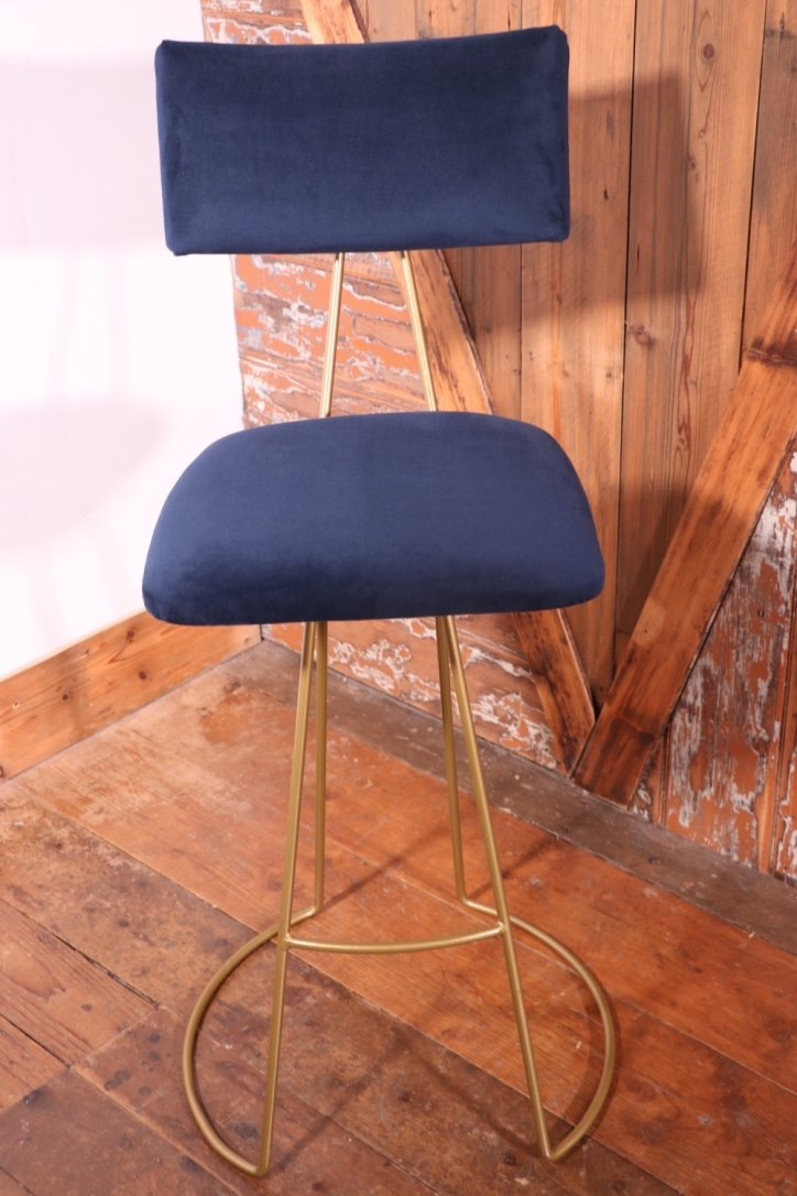 Peachy Handmade Industrial Barstool In Steel Piping With Custom Made Fabric Seat Gamerscity Chair Design For Home Gamerscityorg