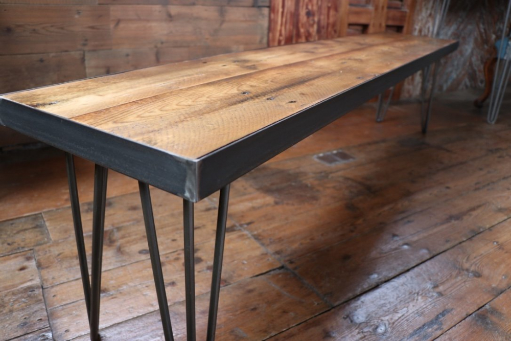 Reclaimed wood table and four chairs