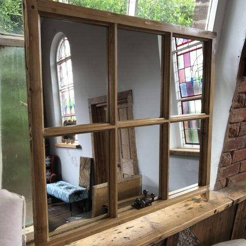 Reclaimed pine wood flooring mirror