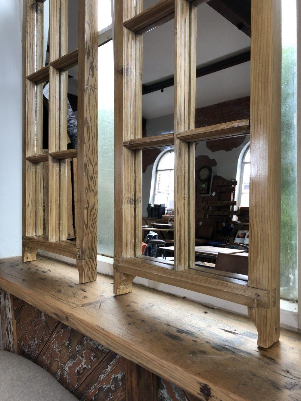 Reclaimed Wood Sash Mirror Pair