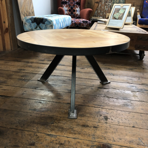 Reclaimed Maple Wood Round Coffee Table With Cross Section Frame