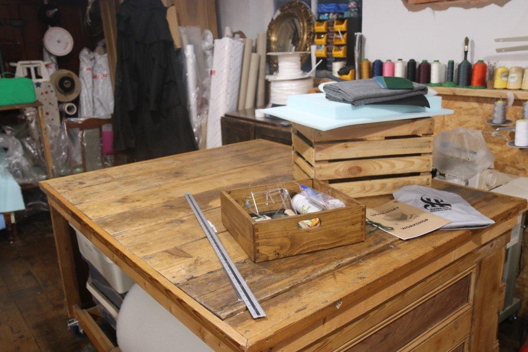 Wooden workshop workbench.