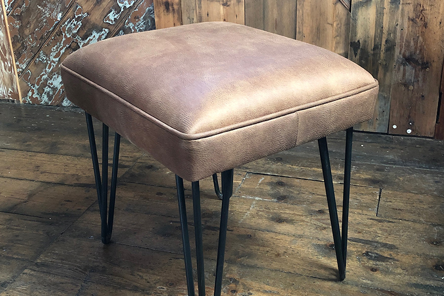 industrial leather pin leg stool