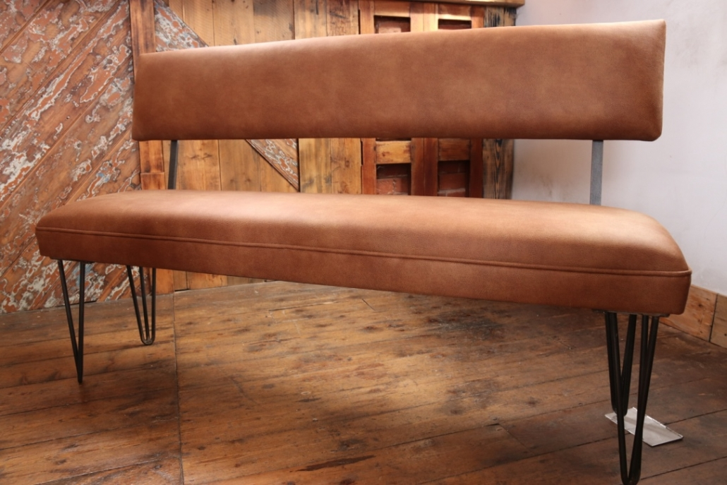 Bench with back rest and hairpin legs in Linwood Leather / Wool or Velvet