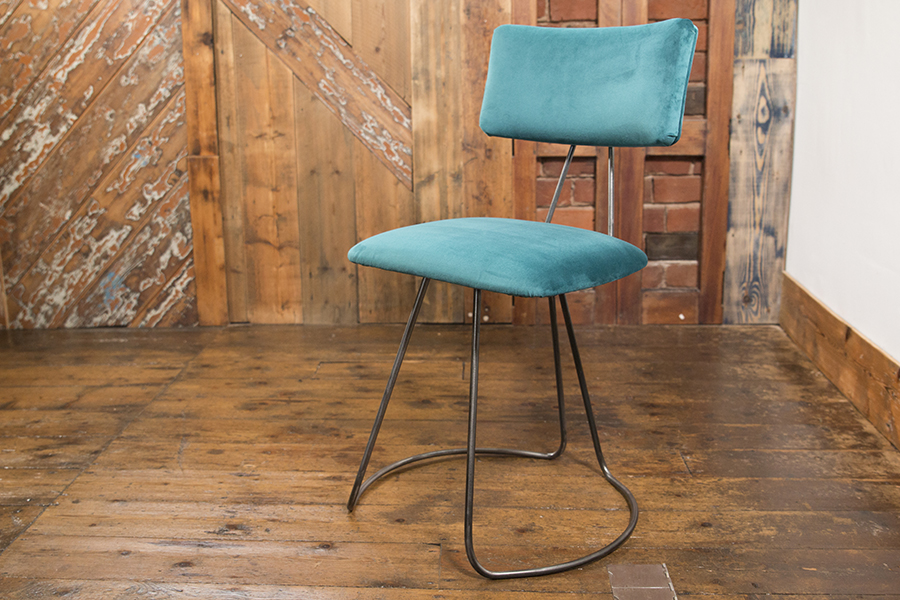 Handmade Industrial barstool in steel piping with custom made fabric seat