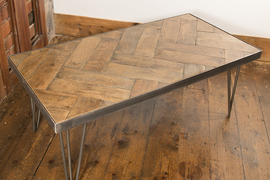 Reclaimed wood coffee table with industrial hairpin legs