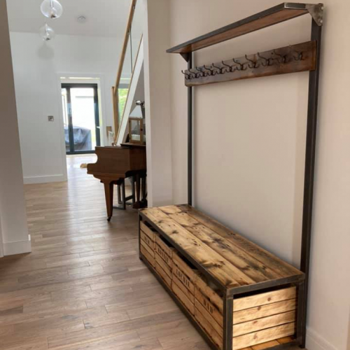 Hall stand storage with coat hooks