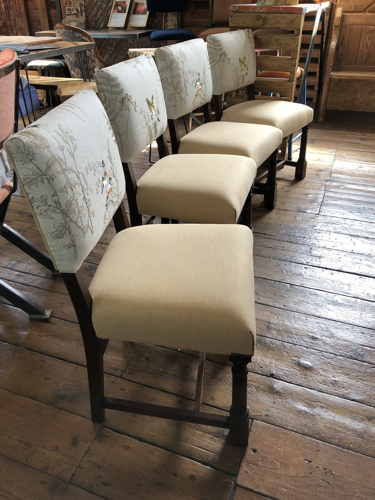 upholstered dining chairs with contrasting fabrics