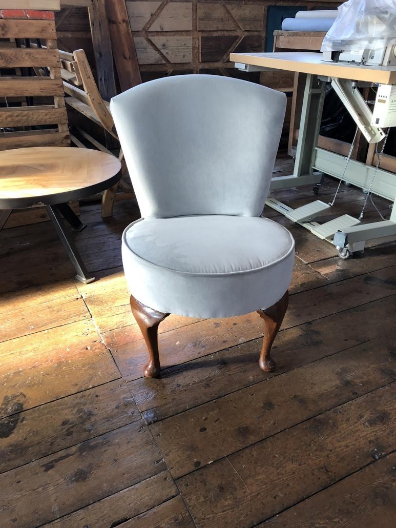 upholstered velvet wooden chair