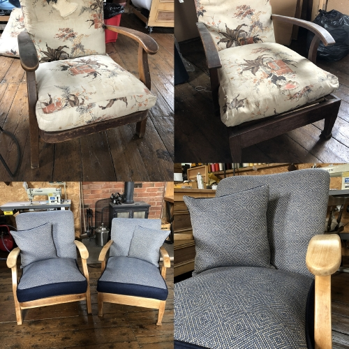 reupholstered armchairs