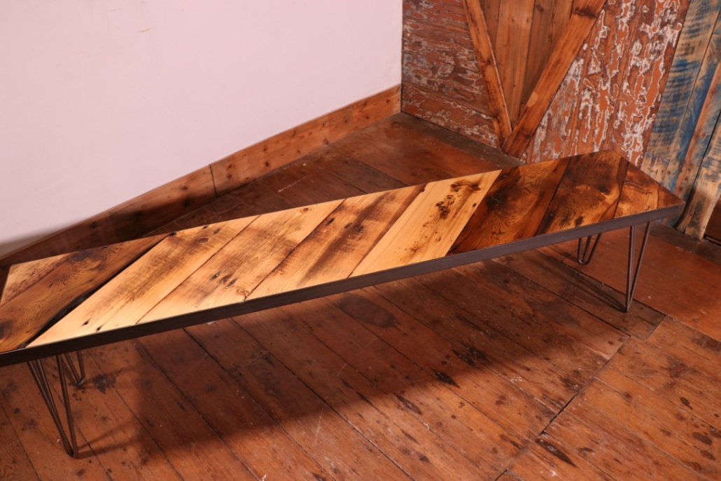reclaimed industrial wood bench