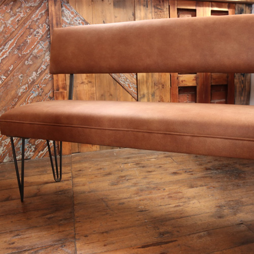 Bench with back rest and industrial hair pin legs