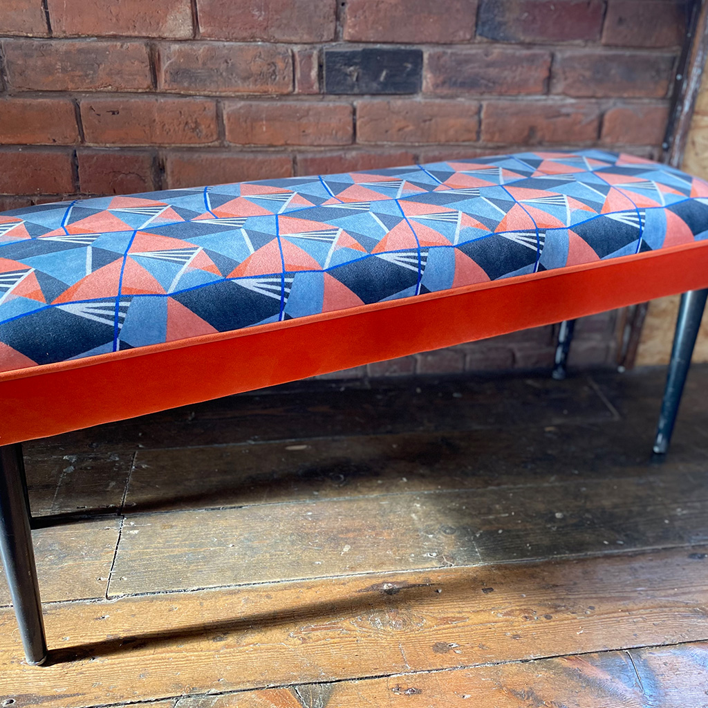 patterned Fabric bench