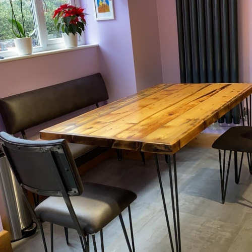 custom Dining table, bench and chairs