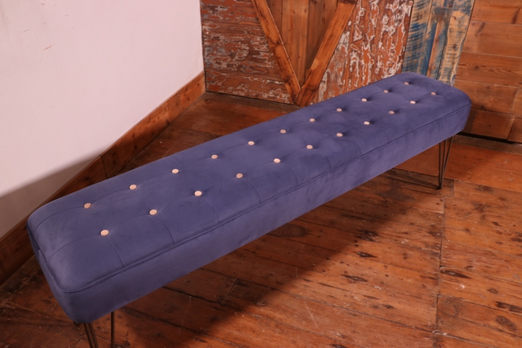 Fabric Panel Bench With Hairpin Legs blue