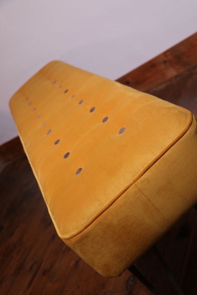 Fabric Panel Bench With Hairpin Legs mustard]