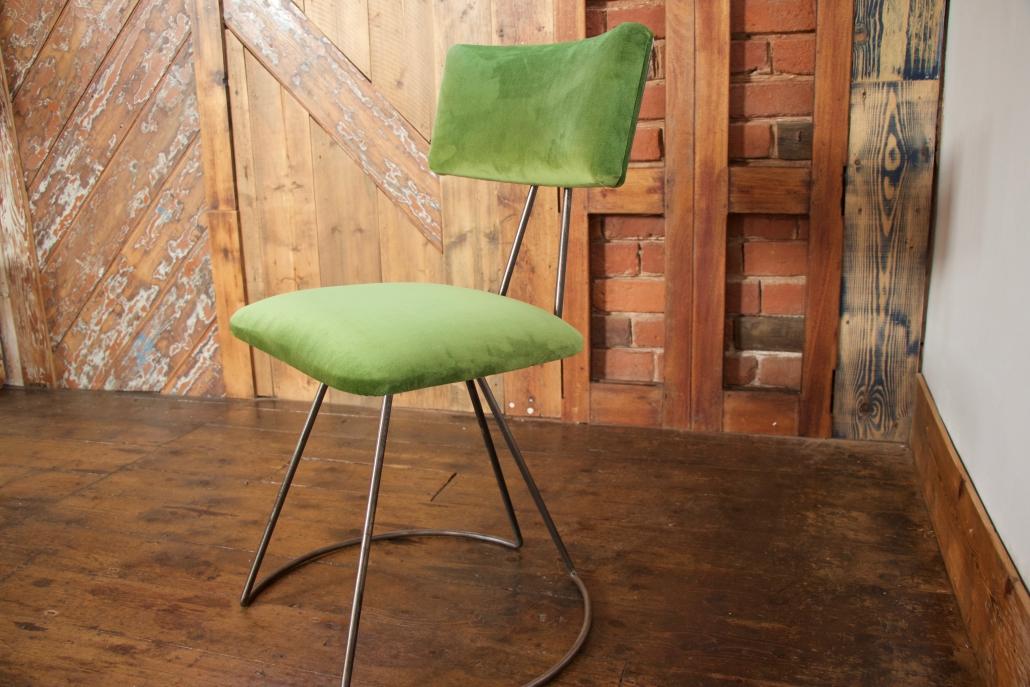 velvet industrial custom chair with steel legs