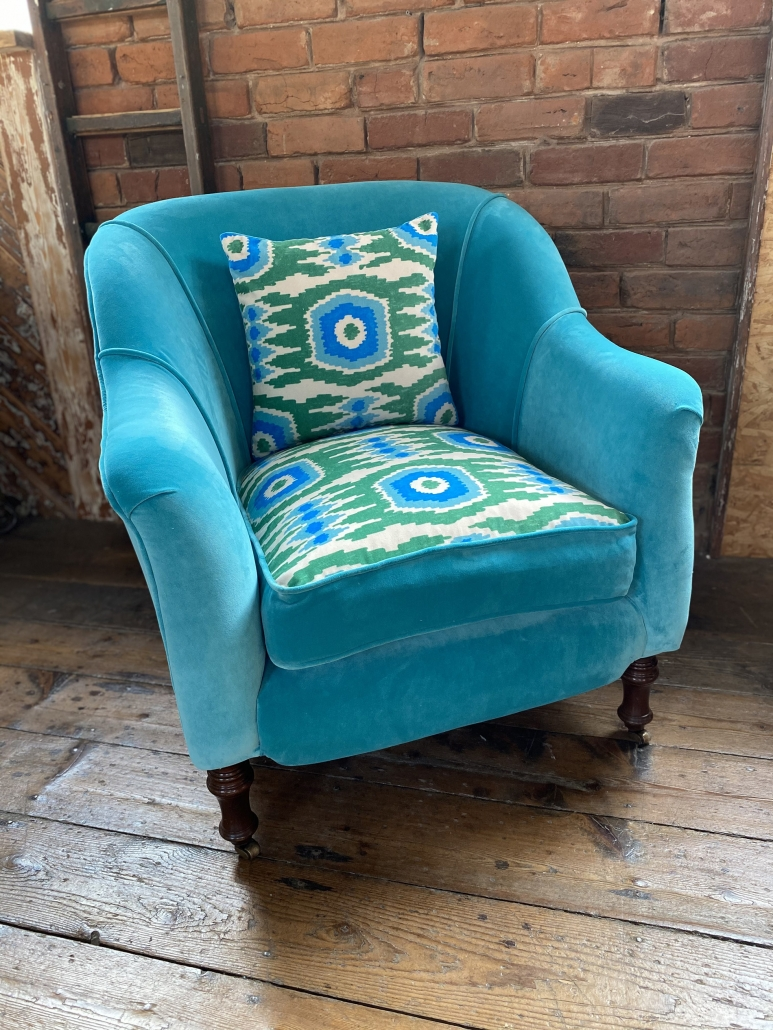 upholstered fabric armchair
