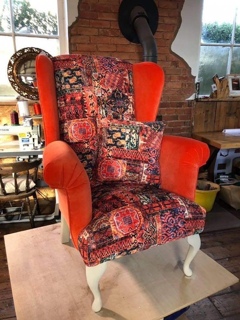 Custom contrast fabric armchair