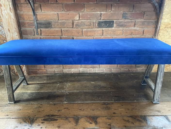 velvet bench with Steel industrial legs
