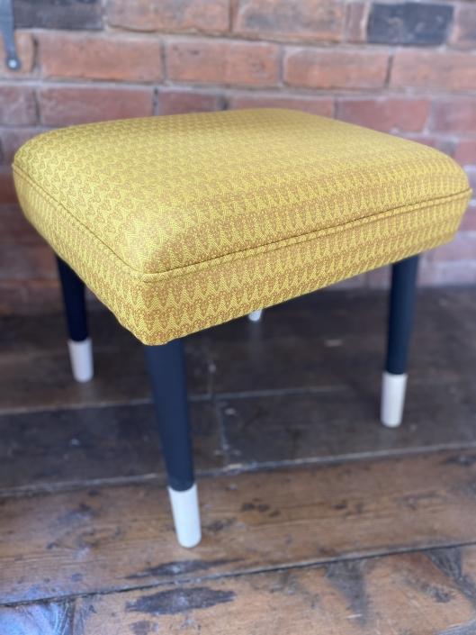 Fabric wooden footstool