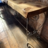 Monkey puzzle console table with scroll legs