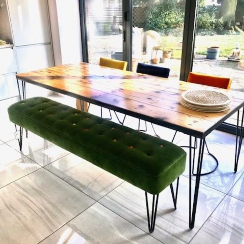 Reclaimed Wood Table, Bench and Chairs